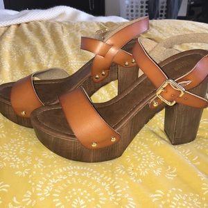 Leather Clog Heels
